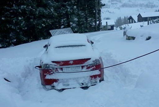 Norwegian RWD Model S made it through 40cm snow