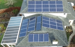 Company-installed solar panels on our house (plus three spares that Rolf absolutely had to get onto the roof, too. Can you guess which ones... ;-)...?)